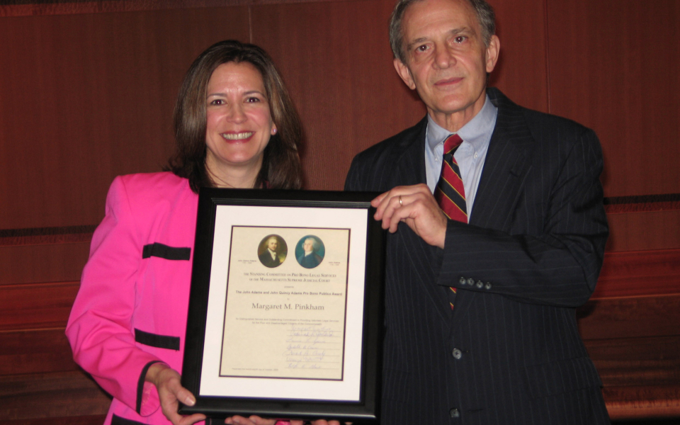 Supreme Judicial Court Justice Francis X. Spina with Margaret M. Pinkham and the Adams Pro Bono Award